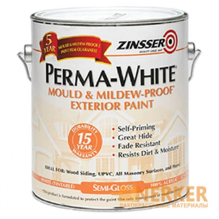Фасадная краска Zinsser Perma-White Exterior Paint Semi-Gloss