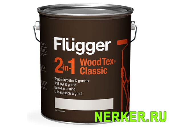 Flugger 2-in-1 Wood Tex Classic пропитка по дереву (4,9л)