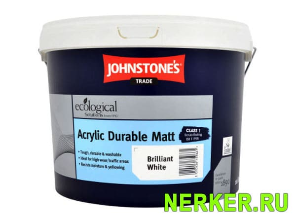 Johnstones Acrylic Durable Matt Brilliant White влагостойкая краска