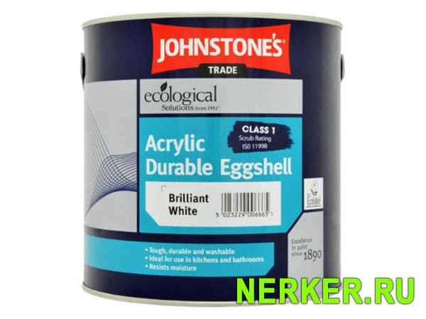 Johnstones Acrylic Eggshell Brilliant White влагостойкая краска
